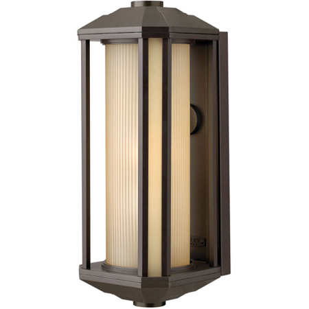 Wall Sconces 1 Light With Bronze Ribbed Etched Amber Cylinder Cast Aluminum Medium Base 18 inch 100 Watts