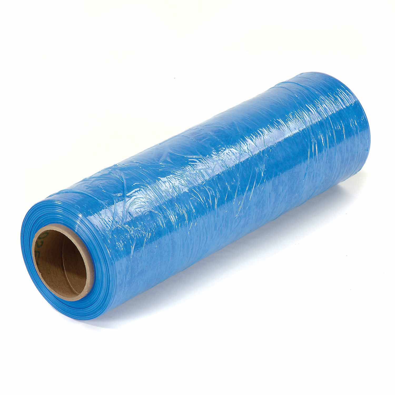 "Stretch Wrap 18"" x 1500' x 80 Gauge, Light Blue, Lot of 4"
