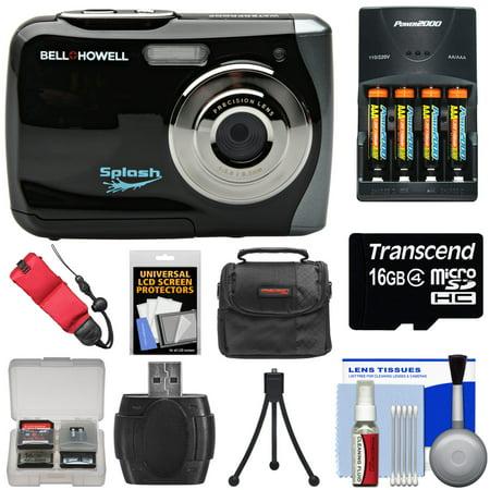 Bell & Howell Splash WP7 Waterproof Digital Camera (Black) with Batteries & Charger + 16GB Card + Case + (Purple Camera)