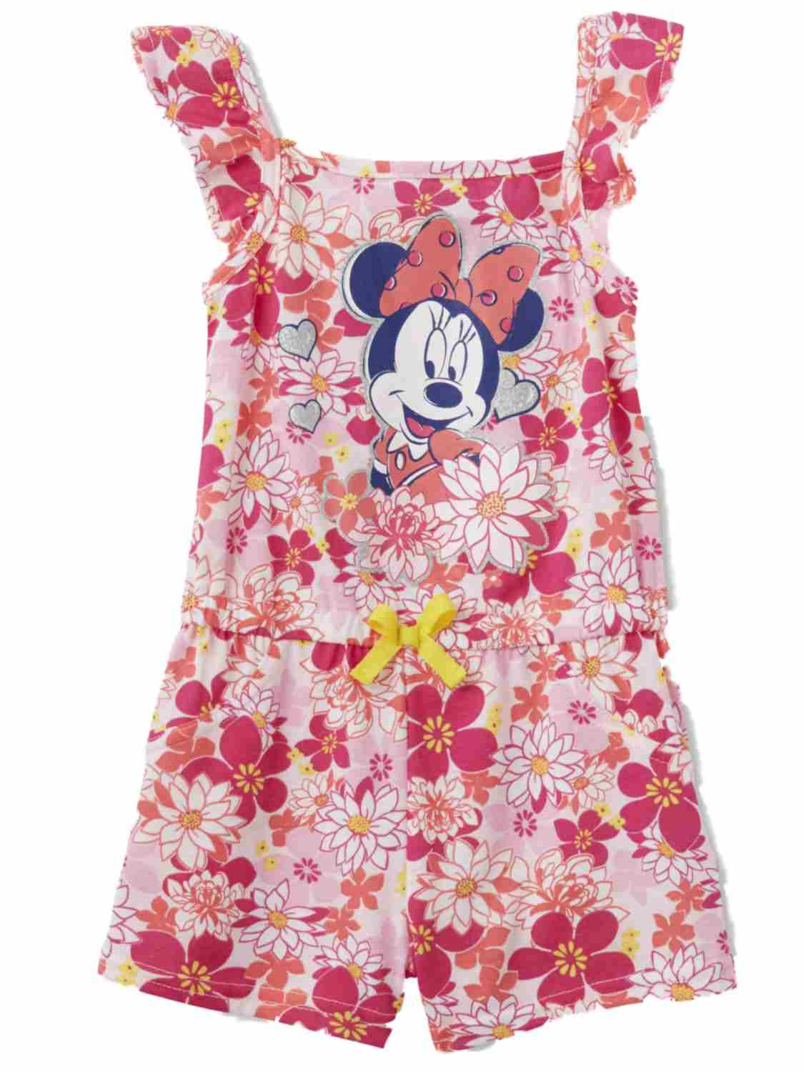 Disney Infant & Toddler Girls Pink Floral Minnie Mouse Romper Baby Outfit