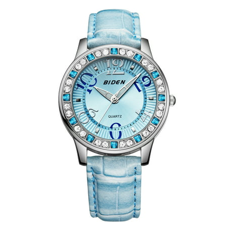 Womens Quartz Watch Blue Case Leather Strap Rhinestone Bezel Arabic Simple Ultra-Thin for Collection Gift Dress