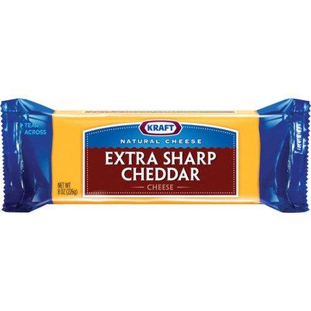 Kraft Natural Cheese Cheddar Extra Sharp Chunk Cheese, 8 Oz