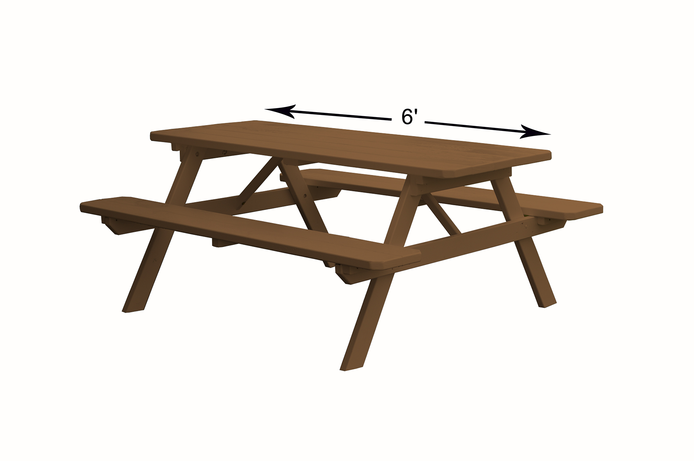 8 foot Wooden Picnic Table with Attached Wooden Benches by