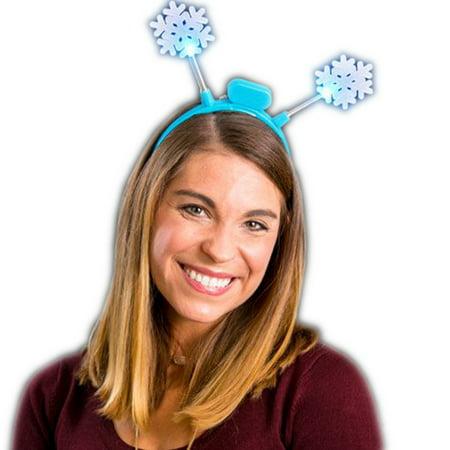 Light Up Flashing Crystal Snowflake Headband Bopper - Snowflake Headbands