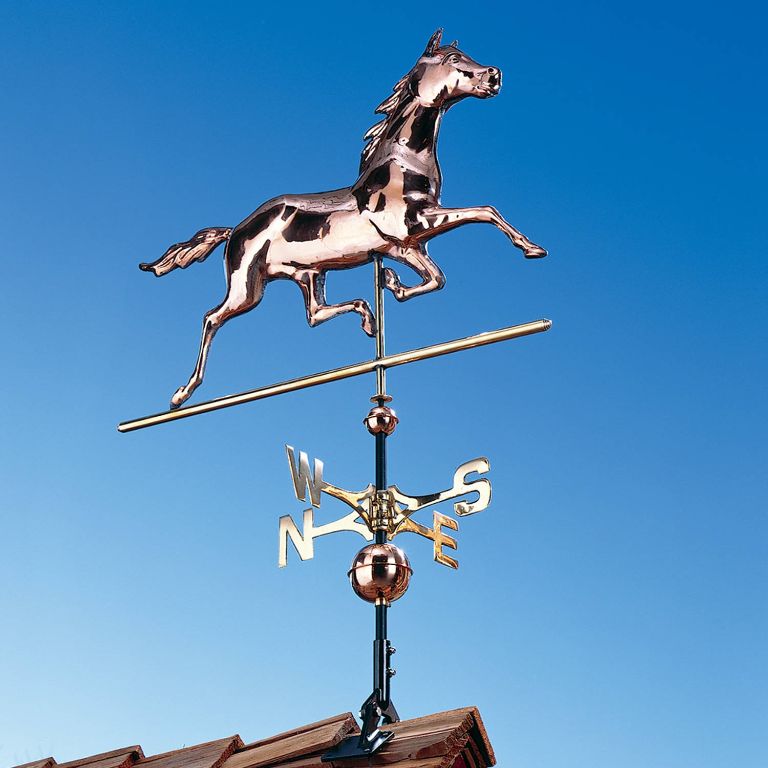 Copper Horse Weathervane, Polished by