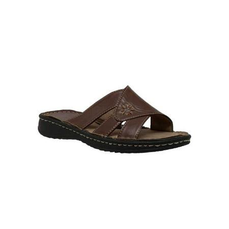 Brown Heels Slides Shoes (AdTec Women's Band Slide Sandals Open Toe Flat Heel, Brown. 8560-BR )