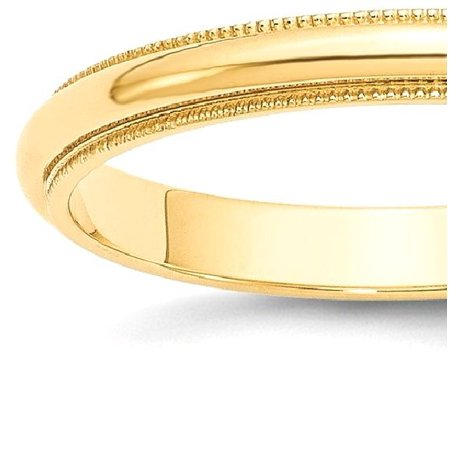 14k Yellow Gold 3mm Milgrain Half Round Wedding Ring Band Size 7.00 Classic Gifts For Women For