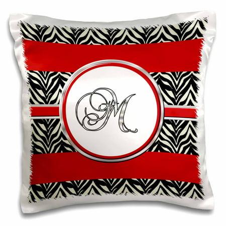 3dRose Elegant Red Black Zebra Animal Print Monogram Letter M, Pillow Case, 16 by 16-inch](Animal Print Letters)