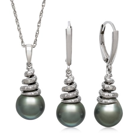 9-10mm Tahitian Black Pearl and Diamond Accent Sterling Silver Swirl Pendant and Earring Set, - Pearl Pendant Pearl Set