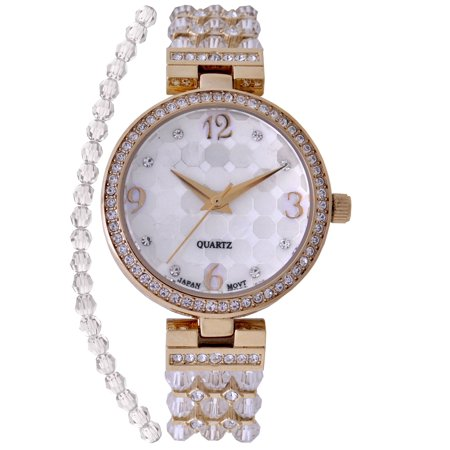 Ladies Clear Swarovski Bead Watch with Austrian Crystals and Coordinated Bracelet