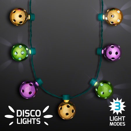 FlashingBlinkyLights Disco Lights Mardi Gras Party Necklace