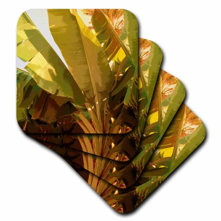 3dRose Print of Large Tropical Banana Leaves In Abstract - Soft Coasters, set of 8