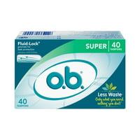 o.b. Original Applicator-Free Tampons, Unscented, Super, 40 Ct