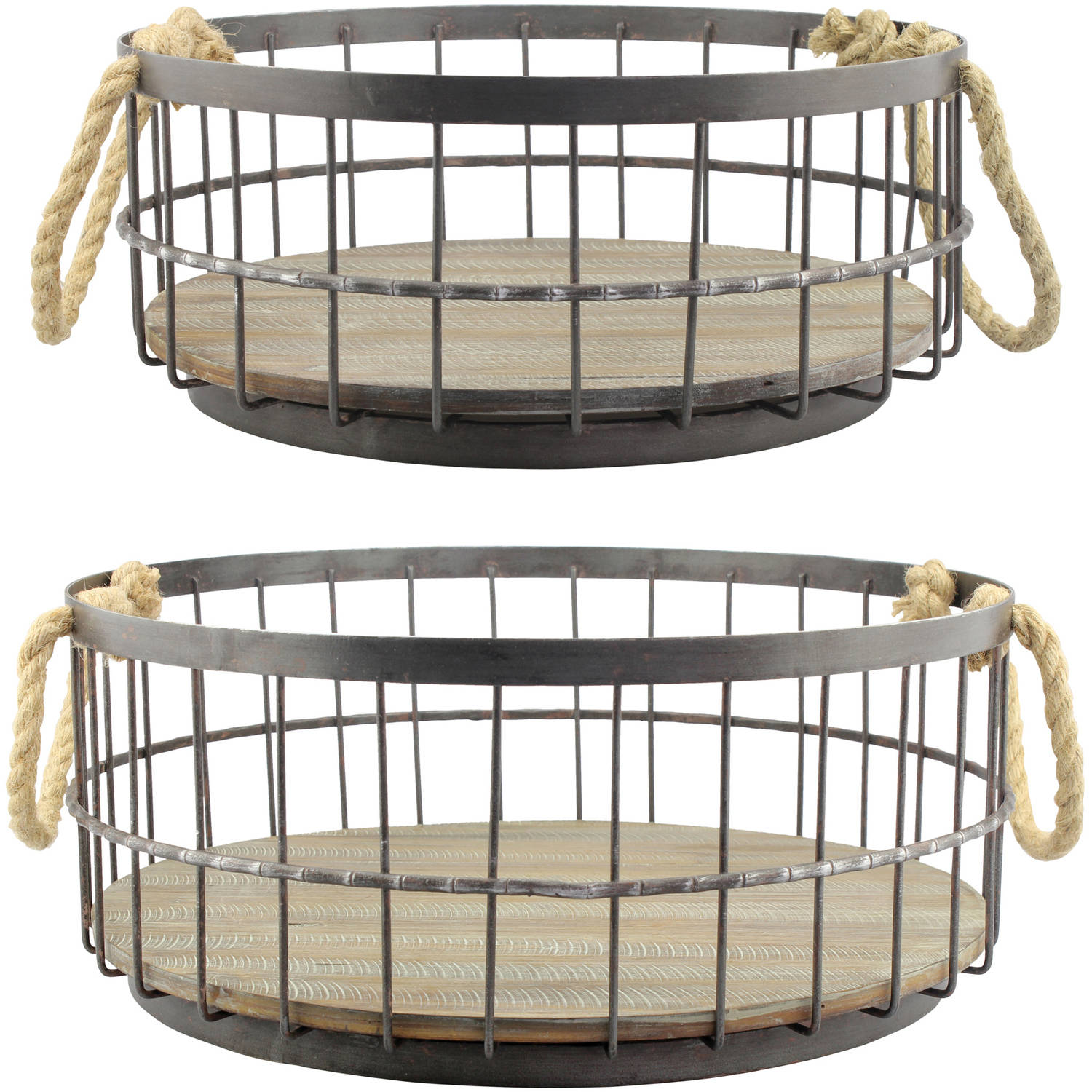 Set of 2 Wire and Wood Coastal Baskets