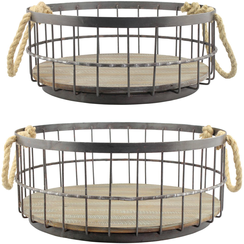 Set of 2 Wire and Wood Coastal Baskets