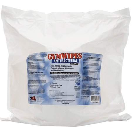 2XL, TXLL101, GymWipes Antibacterial Towelettes Bucket Refill, 1 Each, White