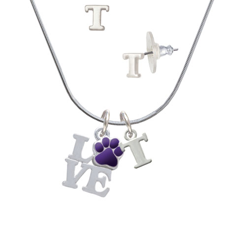 Love with Purple Paw - T Initial Charm Necklace and Stud Earrings Jewelry Set