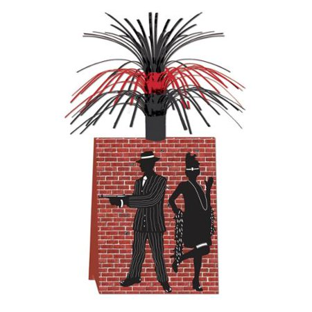 Club Pack of 12 Red Brick with Metallic Tinsel Gangster Table Centerpieces 14