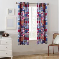 """Your Zone Sports Patch Room Darkening Grommet Single Curtain Panel, Blue, 42"""" x 63"""""""
