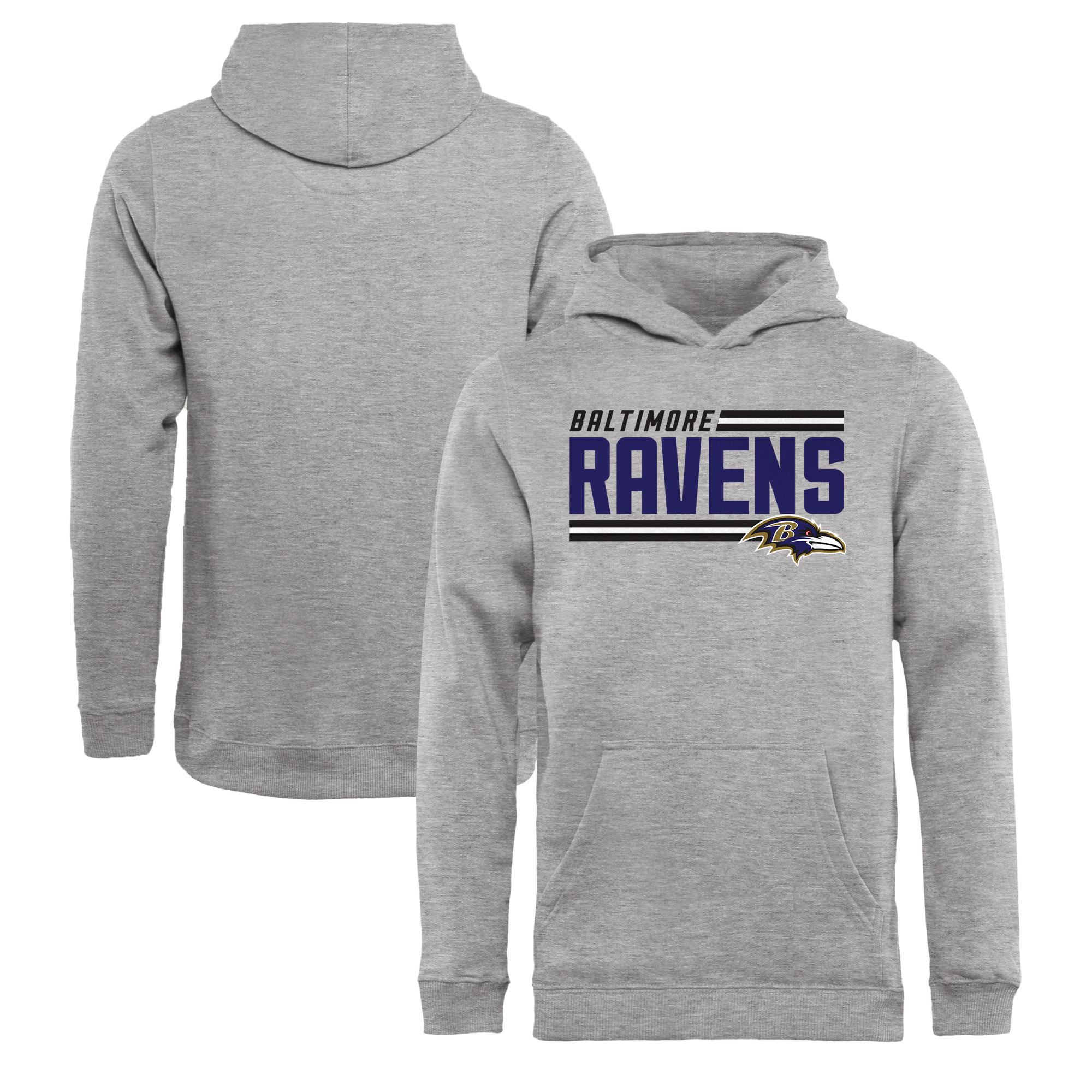 Baltimore Ravens NFL Pro Line by Fanatics Branded Youth Iconic Collection On Side Stripe Pullover Hoodie - Ash