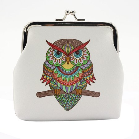 Women Lady Retro Vintage Leather Owl Small Wallet Hasp Purse Clutch Bag
