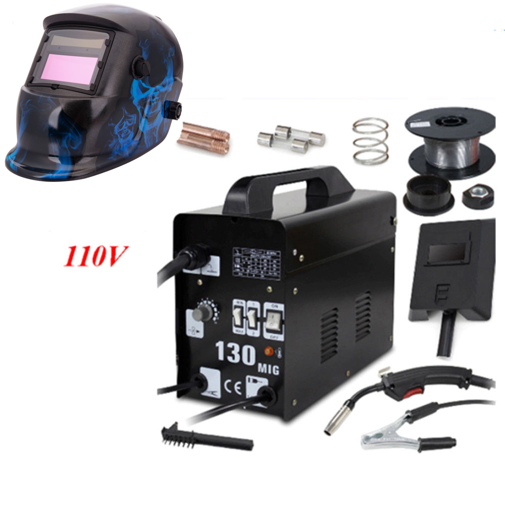 Ktaxon MIG 130 Flux Core Wire Automatic Feed Welding Machine Welder + Solar Auto Speedglas Darkening Welding Helmet Mask Shield Hoods with Adjustable Shade Range