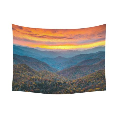 Phfzk Landscape Wall Art Home Decor  North Carolina Blue Ridge Parkway Mountains Sunset Tapestry Wall Hanging 80 X 60 Inches