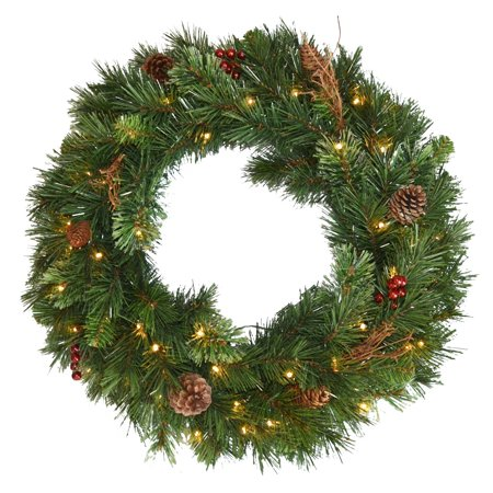 """36"""" Glistening Pine Wreath with Battery Operated LED Lights"""