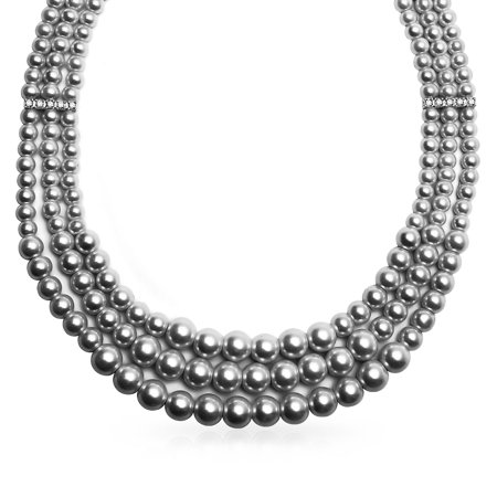 3 Multi Strand Grey Simulated Pearl Collar Necklace For Women Crystal Bar Spacer