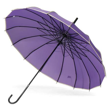 16 Ribs Auto Open Close Large Umbrella Long Handle Straight Anti-UV Sun Rain NEW Anti Uv Sun Umbrella