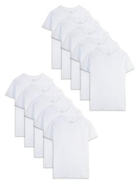 Fruit of the Loom White Crew Undershirts, 10 Pack (Little Boys & Big Boys)