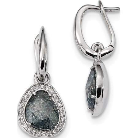 661ed5c090c 925 Sterling Silver Rhodium-plated Grey Ice CZ Hinged (12x28mm) Earrings -  image ...
