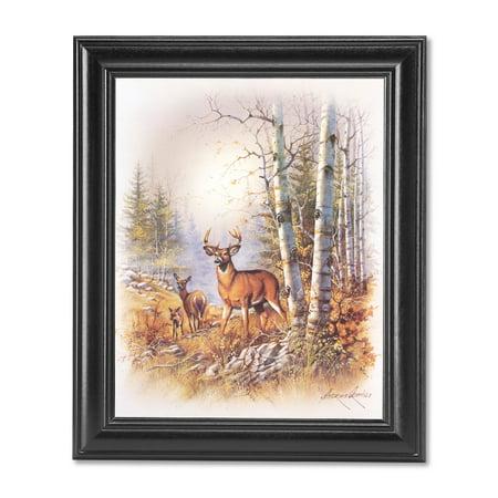 Hillside Framed (Deer Family Big Buck Doe and Fawn on Hillside Wall Picture Black)