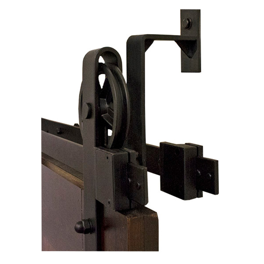 6.6 Ft. By-Passing Hook Strap Black Rolling Barn Door Hardware Kit with 5 in. Wheel