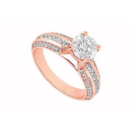 April Birthstone Cubic Zirconia Engagement Ring in 14K Rose Gold 1.25 CT TGW - image 1 de 2