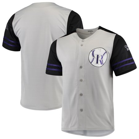 Colorado Rockies Stitches Button-Up Jersey - Gray/Black