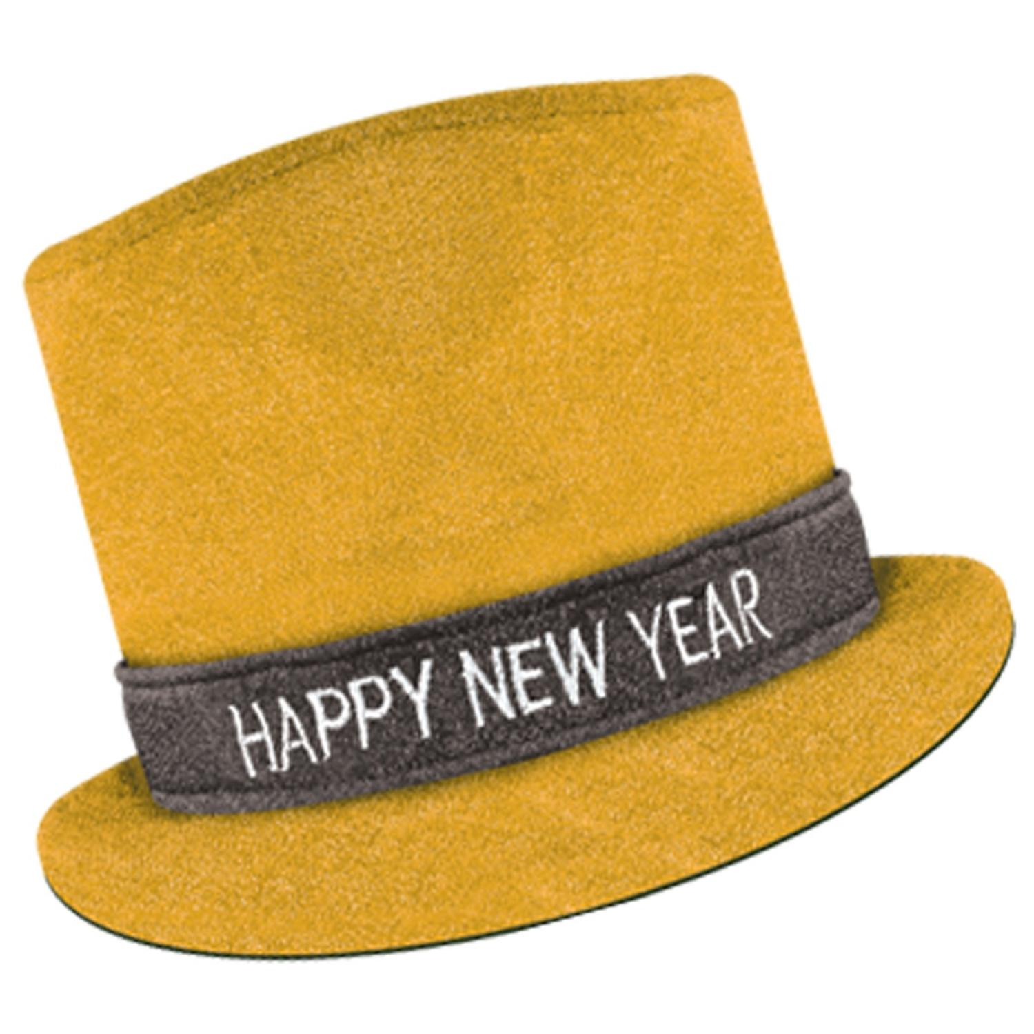"""Club Pack of 12 Yellow Glitz 'N Sparkle """"Happy New Year"""" Decorative Party Top Hat"""