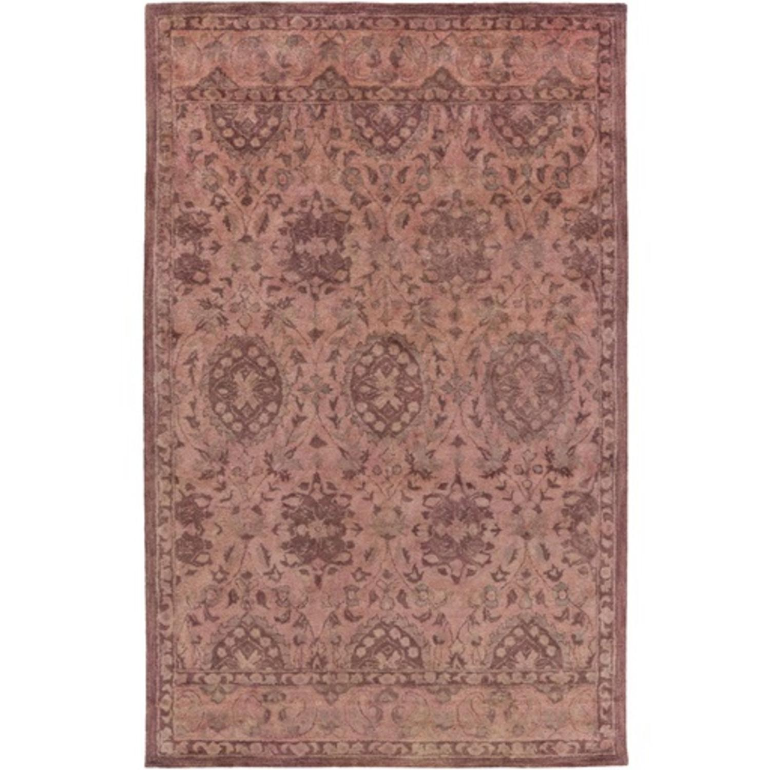 8' x 11' Berber Garden Salmon Pink and Shaded Gray Wool A...