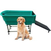 Paw Essentials MWG-C343 Pet Dog Cat Washing Shower Grooming Portable Bath Tub w/ Ladder - Green, 47*23.6*35.4 in, up to 150lbs