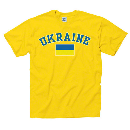 Ukraine Yellow Arch Over Country Flag T-Shirt