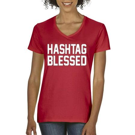 Trendy USA 395 - Women's V-Neck T-Shirt Hashtag Blessed Meme Kanye Drake 2XL Red - Drake As Kanye For Halloween