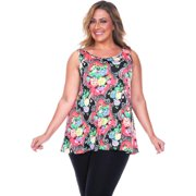 White Mark Women's Plus Size Paisley Tank Top Red Paisley Plus Size Tank Top -3XL