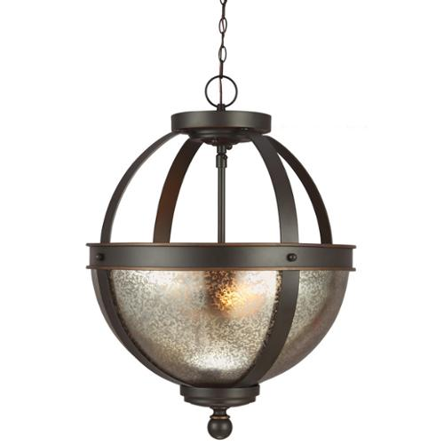 Sea Gull Lighting Sfera 2-light Autumn Bronze Semi-flush Convertible Pendant with Mercury Glass