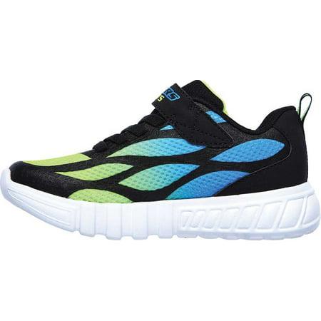 Boys' Skechers S Lights Flex-Glow Dezlo Sneaker Black/Blue/Lime 11 M