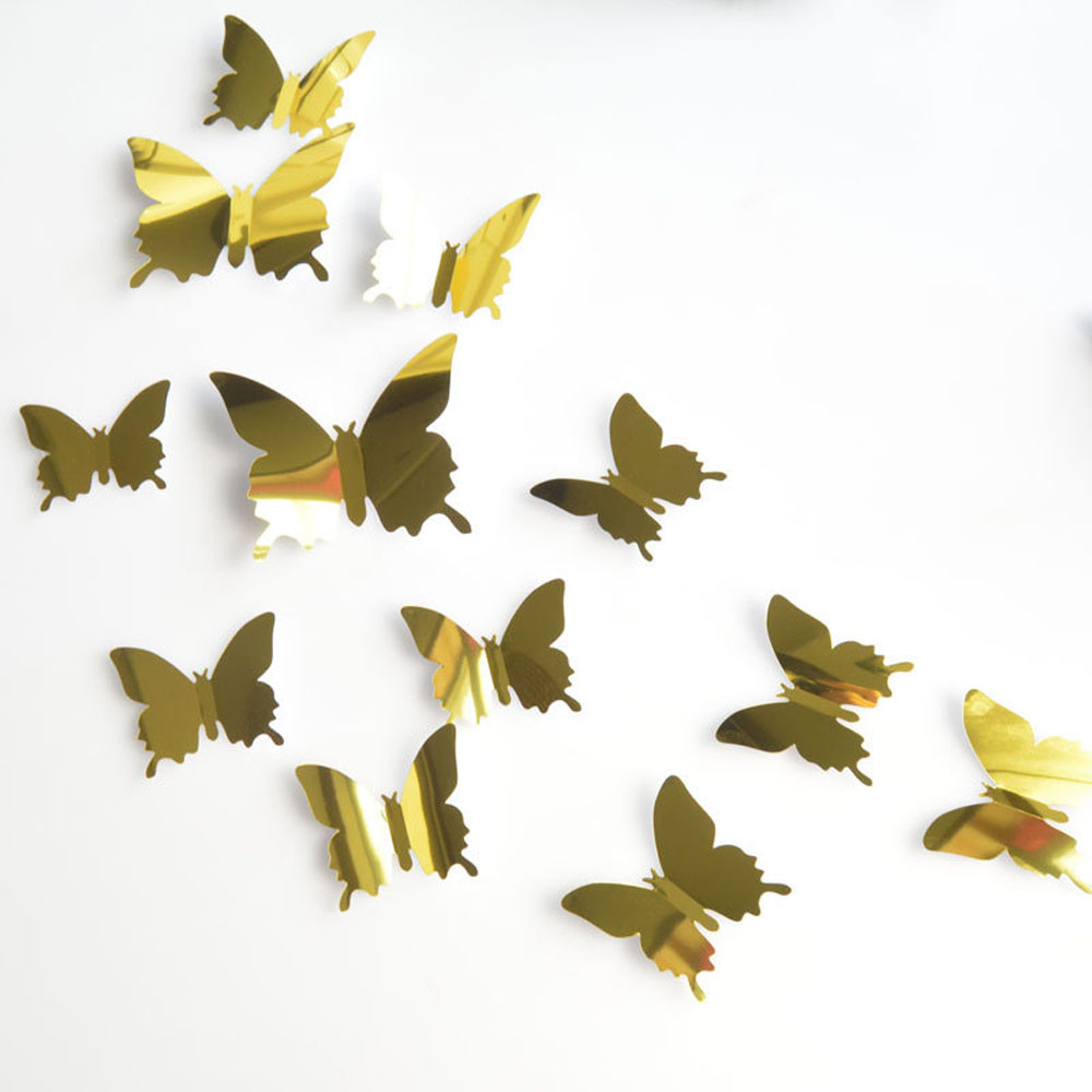12PCS Butterfly Silver Mirror Decoration Home Room Art 3D DIY Wall Stickers