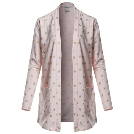 FashionOutfit Women's Casual Lightweight Open Front Cotton Cardigan Star Mint Tin