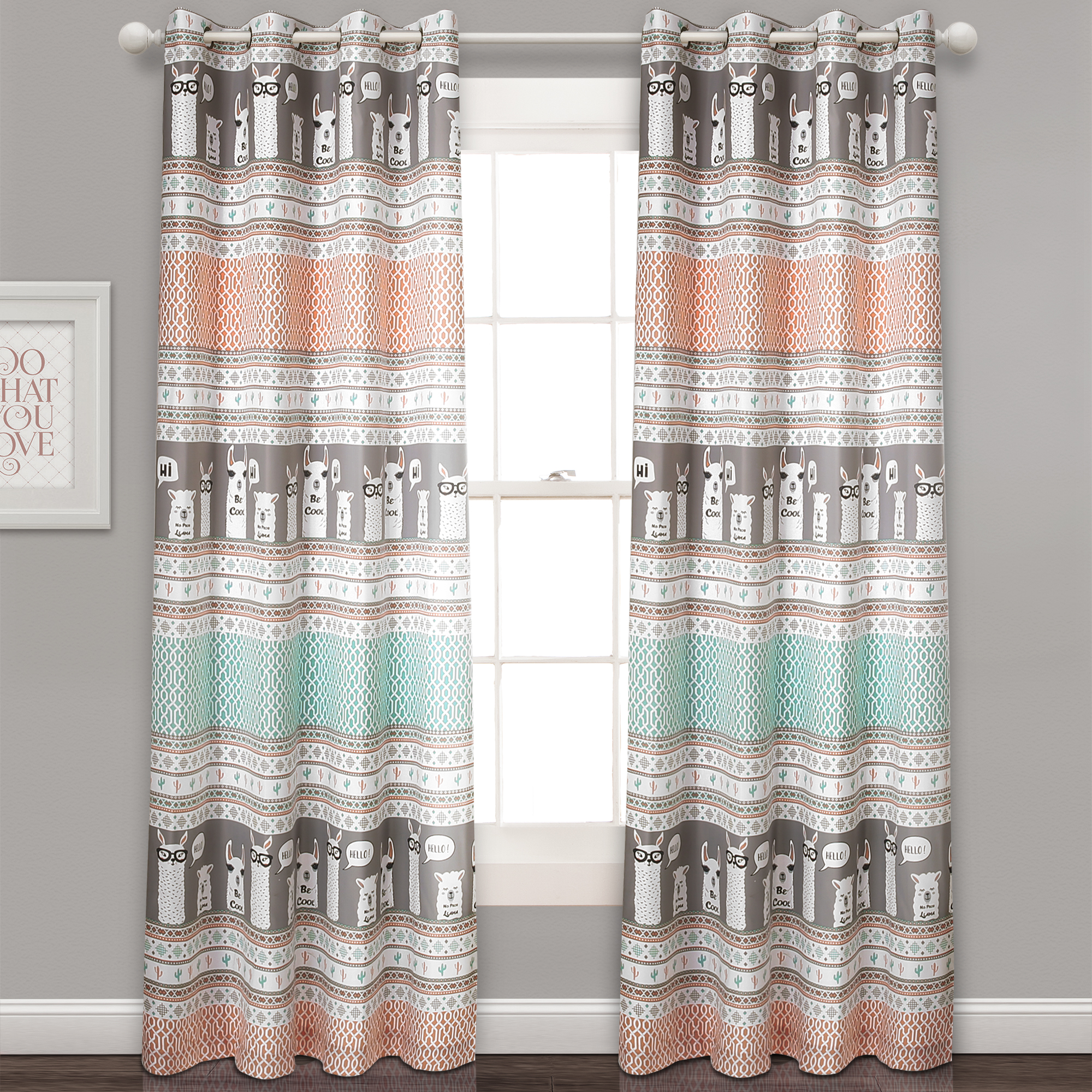 Llama Stripe Room Darkening Window Curtain Panels Set
