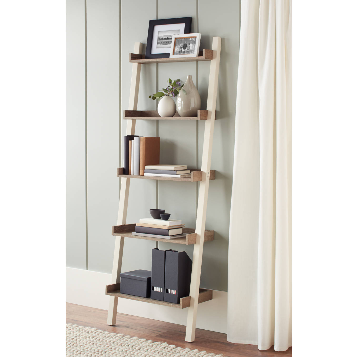 Better Homes and Gardens Bedford 5 Shelf Leaning Bookcase, Multiple Colors