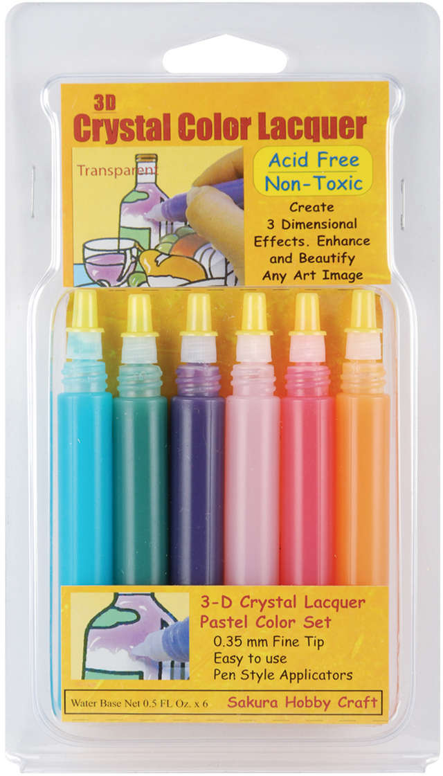 3D Crystal Lacquer Color Pens 6/Pkg-Pastel .5oz