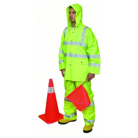 Polyester 3 Piece Suit (3 Piece PVC/High Visibility Polyester ANSI Class 3 Rain Suit, Large,)